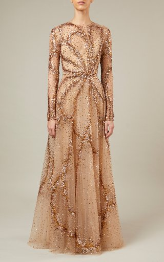 Bead-Embroidered Fitted Tulle Dress