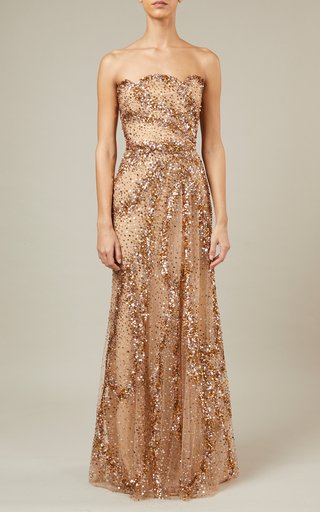 Bead-Embroidered Scarf-Detailed Tulle Dress