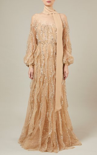 Bead-Embroidered Tulle Dress