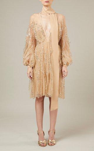 Bead-Embroidered Tulle Mini Dress
