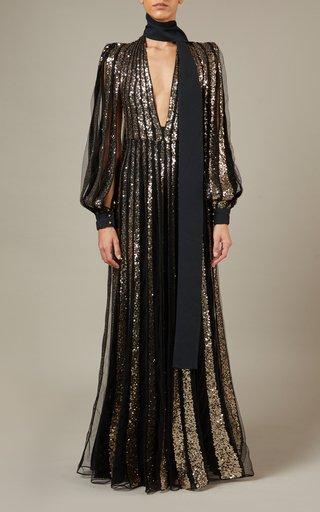 Embroidered Metallic Tulle Maxi Dress