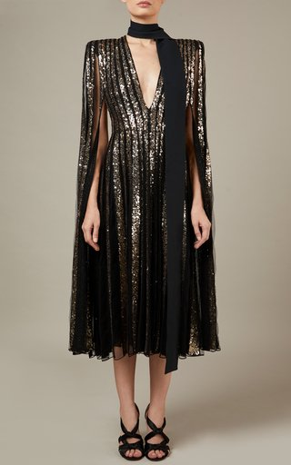Embroidered Metallic Tulle Midi Dress