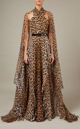 Printed Silk-Blend Crepe Cape Dress