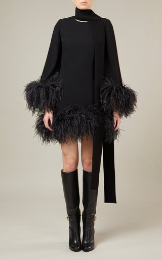 Feather-Detailed Crepe Dress