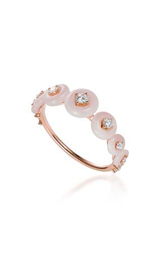 Surrounding Small 18K Rose Gold Opal, Diamond Ring