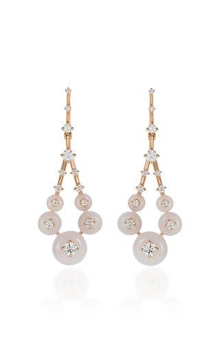 Gravity Small 18K Rose Gold Opal, Diamond Earrings