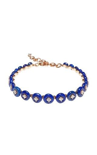 Surrounding Small 18K Rose Gold Lapis, Diamond Bracelet