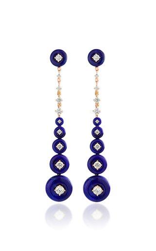 Surrounding 18K Rose Gold Lapis, Diamond Earrings