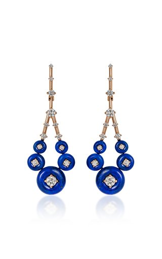 Gravity Small 18K Rose Gold Lapis, Diamond Earrings