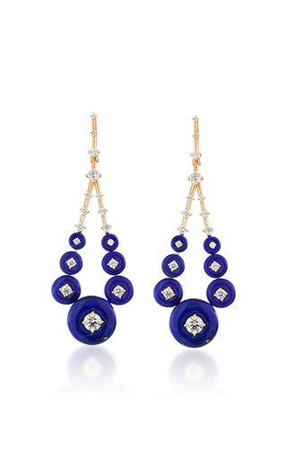 Gravity Medium 18K Rose Gold Lapis, Diamond Earrings
