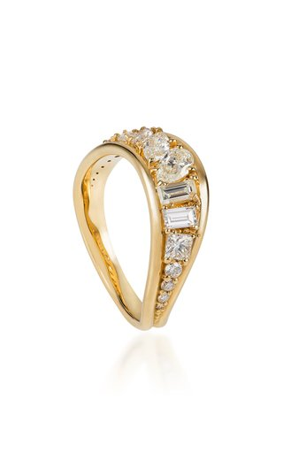 Stream Wave 18K Yellow Gold Diamond Ring