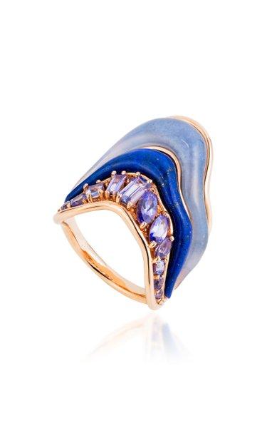 Stream Melting 18K Rose Gold Multi-Stone Ring