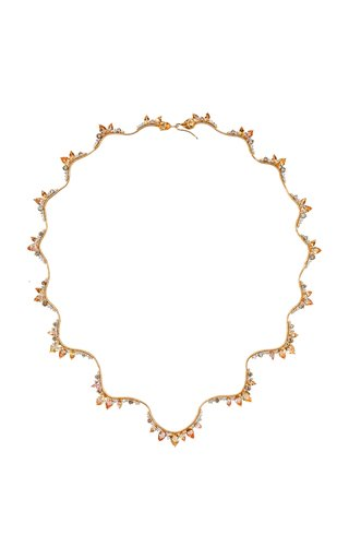 Electric 18K Yellow Gold Diamond, Topaz Necklace