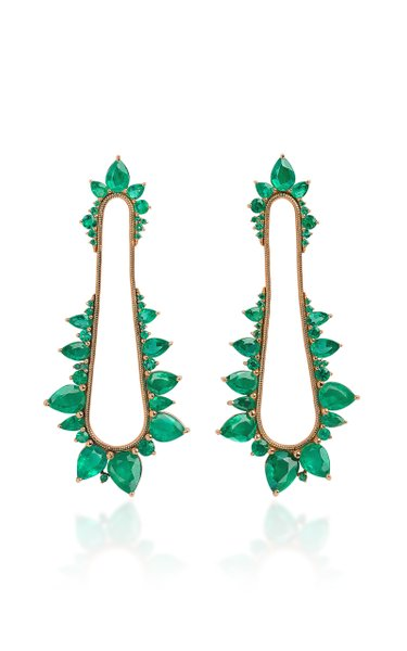 Electric Shock 18K Rose Gold Emerald Earrings