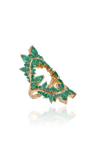 Electric Shock 18K Rose Gold Emerald Ring