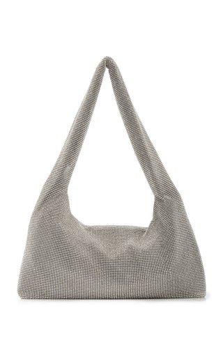 Crystal-Embellished Satin Top Handle Bag
