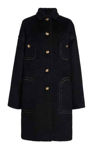 Wool Mohair Collared Coat
