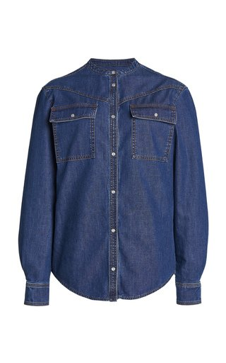 Collarless Denim Shirt