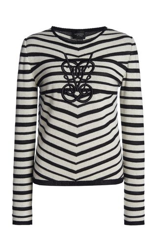 Striped Logo-Embroidered Wool-Blend Top