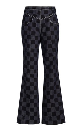 Checked Straight-Leg Denim Pants