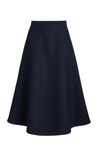 A-Line Crepe Midi Skirt