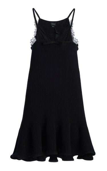 Lace-Detailed Wool-Blend Dress