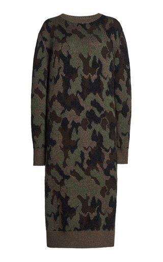 Camo Knit Midi Dress