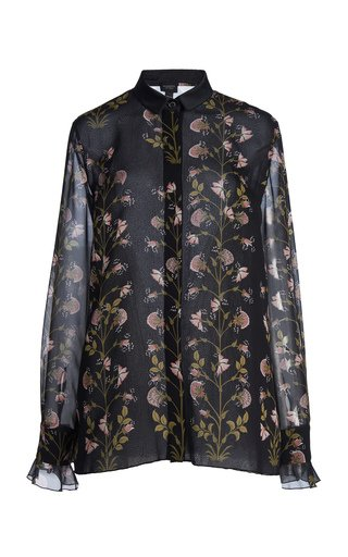 Floral-Printed Silk Georgette Blouse