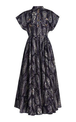 Paisley-Print Cotton Midi Shirt Dress