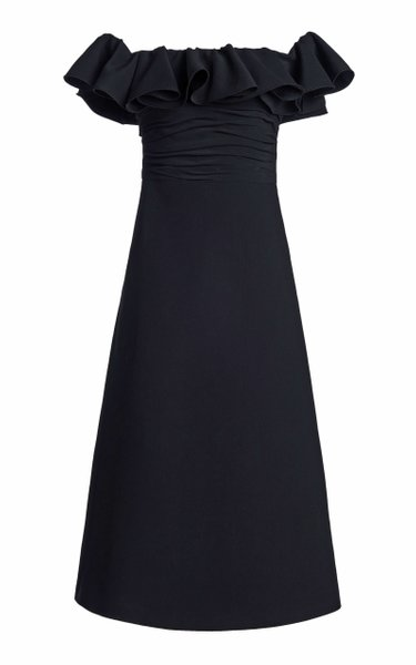 Ruffled Sable Off-The-Shoulder Midi Dress