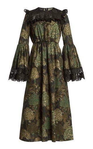 Lace-Trimmed Floral Cotton Midi Dress