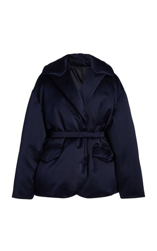 Belted Collared Silk Coat