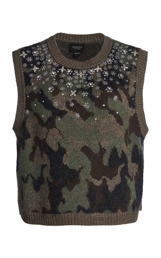 Embroidered Camo Knit Top