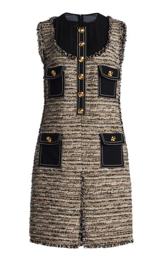 Contrast Panel Tweed Dress