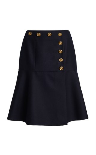 Button-Detailed Flannel Skirt