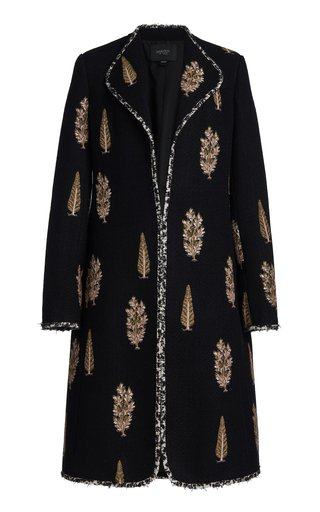 Embroidered Boucle Coat