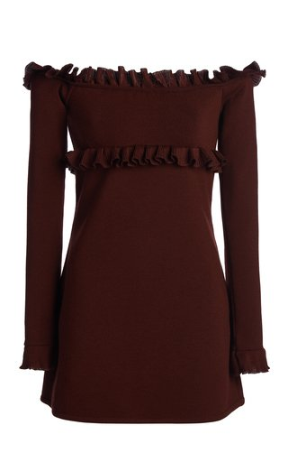 Ruffle Detailed Wool-Blend Mini Dress
