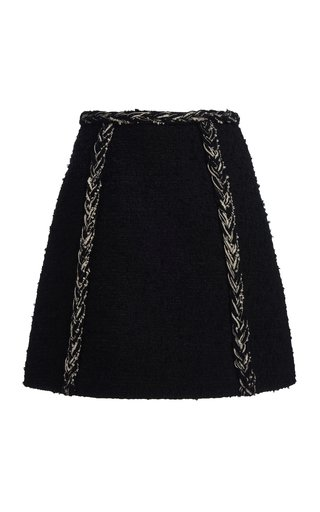 Braid-Detailed Boucle Skirt