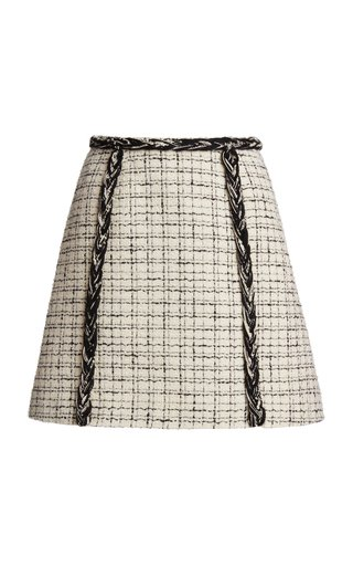 Checked Braid-Detailed Mini Skirt