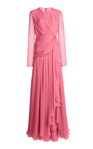 Draped Silk Georgette Gown