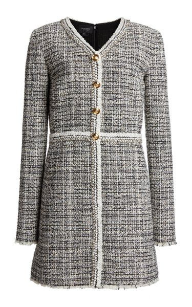 Fringed Tweed Mini Dress