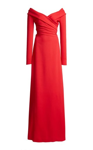 Wrap-Effect Crepe Gown
