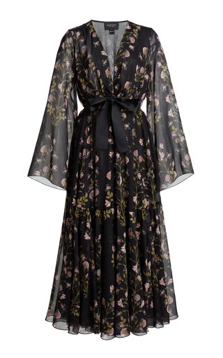 Floral-Printed Tie-Detail Silk Georgette Dress