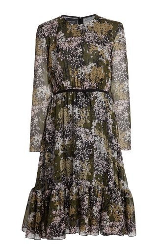 Floral-Printed Silk Georgette Midi Dress