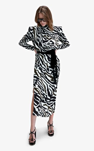Dakota Animal-Printed Crepe Dress