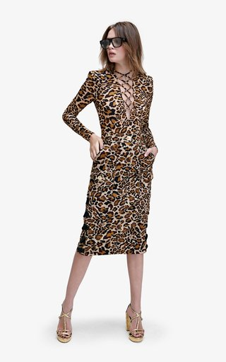 Berry Animal-Printed Jersey Bodysuit