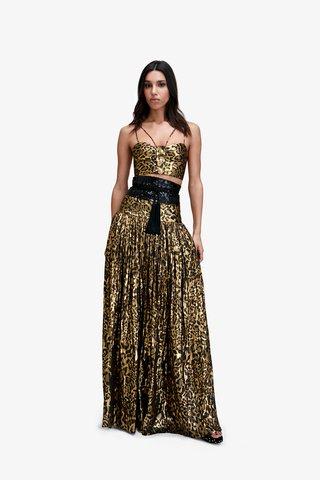 Bianca Metallic Crepe Maxi Skirt