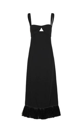 Staying Power Fringed Crepe Maxi Dress