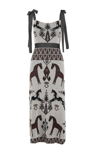 Zacara Jacquard-Knit Cotton Midi Dress