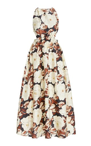 Vivienne Open-Back Floral Silk Maxi Dress